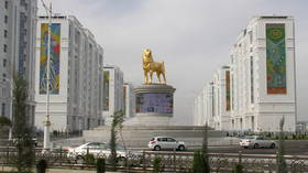 A very good boy: Turkmenistan unveils six-meter-tall golden statue of president's favorite dog breed