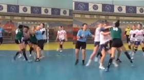 Hand-BRAWL: Women's handball match in Ukraine descends into chaos as FIGHT breaks out on court (VIDEO)