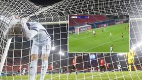 'Even the mascot's in disbelief': Fans stunned as Chelsea star Werner misses sitter from just yards out vs Rennes (VIDEO)