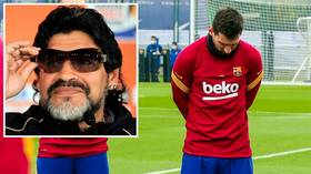 Paying his respects: Lionel Messi joins Barcelona teammates in moment of silence to honor Diego Maradona