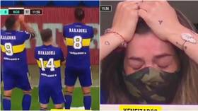 Maradona's daughter breaks down in tears as Boca Juniors players give her ovation in touching tribute to late icon (VIDEO)