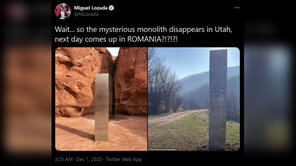 Mysterious monolith surfaces in ROMANIA, days after similar object  disappeared from Utah desert — RT World News