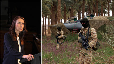 FILE PHOTOS: (L) New Zealand Prime Minister Jacinda Ardern speaks at an event in Wellington, New Zealand; (R) Australian Special Forces troops stand guard at an undisclosed location in Western Iraq.