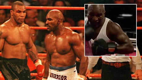 Boxing greats Evander Holyfield and Mike Tyson (left) could meet again after © Nick Potts / Action Images via Reuters | © Twitter / holyfield