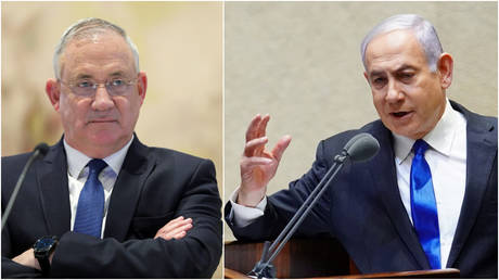 FILE PHOTOS: (L) Israeli Defense Minister Benny Gantz attends a cabinet meeting at the Knesset's Chagall Hall, in Jerusalem; (R) Prime Minister Benjamin Netanyahu speaks during a swearing in ceremony for a new unity government, in Jerusalem.