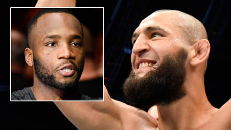 Coronavirus has scuppered the UFC fight between Leon Edwards (left) and Khamzat Chimaev after both caught Covid-19 © Steve Flynn / USA Today Sports | © Jeff Bottari / Zuffa LLC / USA Today Sports via Reuters