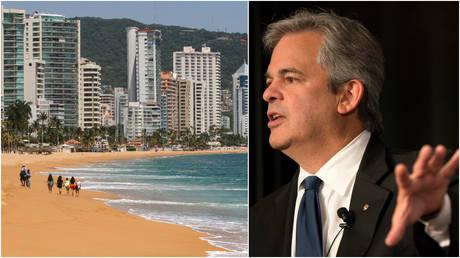 FILE PHOTOS: (L) Tourists walk along a beach in Acapulco, Mexico; (R) Austin Mayor Steve Adler.