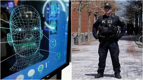 Facial recognition technology at work.© Reuters / Damir Sagolj; A police officer in Boston, Massachusetts.  © Reuters / Jessica Rinaldi