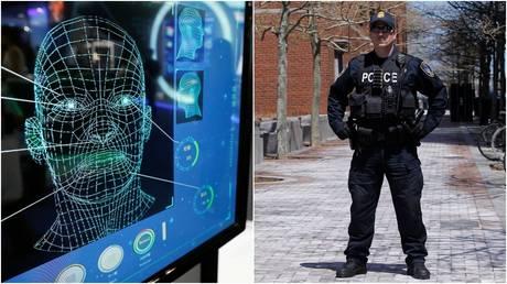 Technologie de reconnaissance faciale au travail © Reuters / Damir Sagolj;  Un agent de police à Boston, Massachusetts.  © Reuters / Jessica Rinaldi