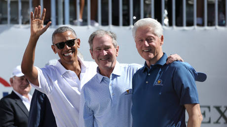 FILE PHOTO: Former U.S. Presidents (from Left) Barack Obama and George W. Bush and Bill Clinton. © Mandatory Credit: Bill Streicher-USA TODAY Sports