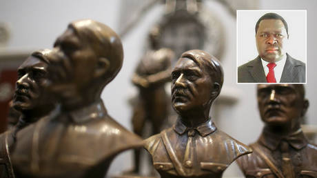 Busts of German Nazi dictator Adolf Hitler are displayed during a news conference at the Holocaust museum in Buenos Aires, Argentina October 2, 2019. © REUTERS / Agustin Marcarian; (inset) © Twitter / @EagleFMNam