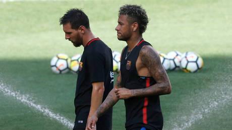 Neymar and Lionel Messi © REUTERS / Mike Segar
