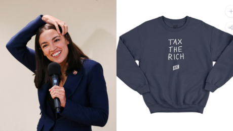 Alexandria Ocasio-Cortez, seen alongside a shirt available on her online store © Reuters / Lucas Jackson