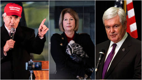 FILE PHOTOS: (L & C) Attorneys Lin Wood and Sidney Powell hold a press conference on election results in Alpharetta, Georgia; (R) Former Speaker of the House Newt Gingrich at an event in Arlington, Virginia.