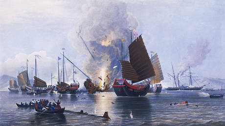 British iron steamer Nemesis attacks Chinese ships during the second Battle of Chuanbi. Painting by E. Duncan, dated May 30, 1843. ©National Maritime Museum