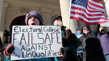 FILE PHOTO: Protesters rally outside as Michigan's 16 presidential electors meet
