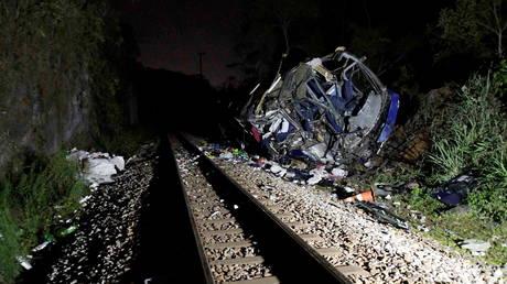 Bus FALLS from a bridge in Brazil to train tracks below, killing at least 17 (VIDEO)