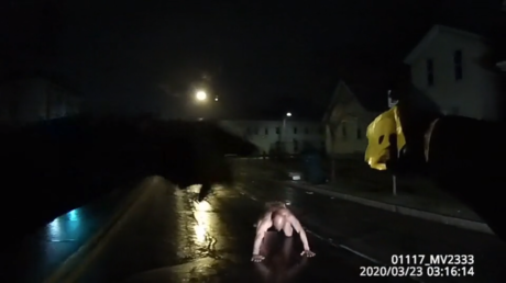 A still shot taken from police body camera footage on the night of Daniel Prude's death, part of a trove released by New York Attorney General Letitia James.