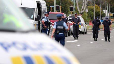 FILE PHOTO Police search the area close by the Linwood Ave Mosque in Christchurch on March 16, 2019. ©  AFP / MICHAEL BRADLEY
