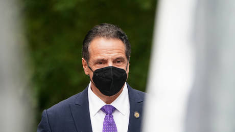 New York Governor Andrew Cuomo is shown arriving at a statue unveiling in October in Manhattan.