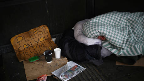 A homeless person is seen in Westminster, following the outbreak of the coronavirus disease (COVID-19), London, Britain, April 29, 2020.