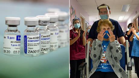 (L) Sputnik V vaccine © Sputnik / Pavel Lvov; (R) Margaret Keenan © Pool via REUTERS / Jacob King