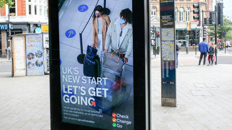 """FILE PHOTO New Government campaign """"UKs new start, Let's get going"""" advising people about post Brexit travel © Getty Images / Matthew Chattle/Barcroft Media"""