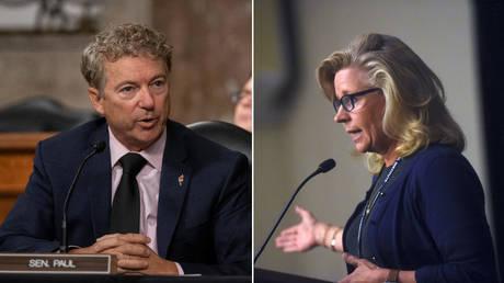 (L) Senator Rand Paul (R-Kentucky) © Pool via REUTERS / Alex Edelman; (R) Rep. Liz Cheney (R-Wyoming) © REUTERS / Mark Makela