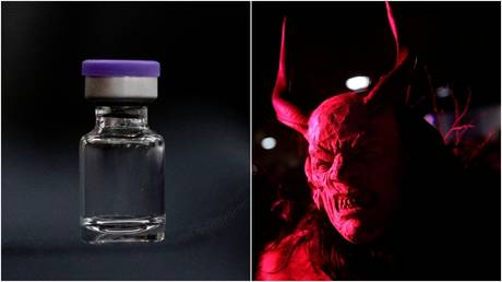 A vial with a Covid-19 vaccine.  © Reuters / Andrew Harnik; An actor dressed as the devil. / Leonhard Foeger