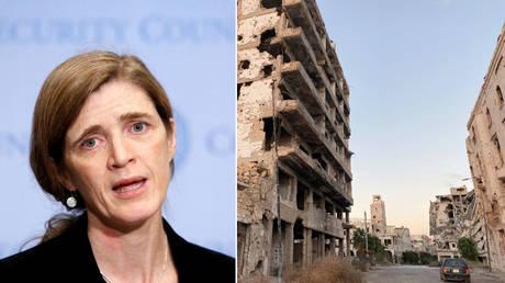 (L) Samantha Power © REUTERS / Andrew Kelly; (R) A car is seen between destroyed buildings in Benghazi, Libya November 23, 2020. Picture taken November 23, 2020. © REUTERS / Esam Omran Al-Fetori
