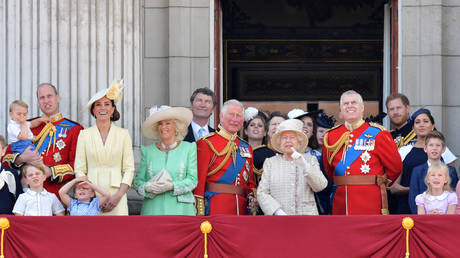Britain's royal family on the balcony of Buckingham Palace in London. June 2019. © AFP / Daniel Leal-Olivas
