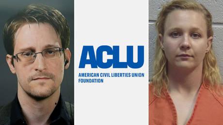 (L) Edward Snowden © REUTERS / Brendan McDermid; (C) © ACLU logo; (R) Reality Winner © Handout via REUTERS / Lincoln County, Georgia, Sheriff's Office