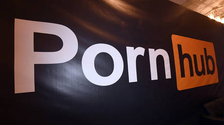 Pornhub logo is displayed at the company's booth at the 2018 AVN Adult Entertainment Expo at the Hard Rock Hotel & Casino in Las Vegas, Nevada.