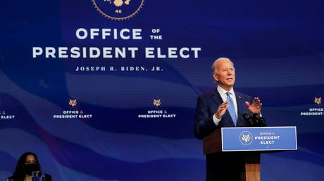 U.S. President-elect Joe Biden announces another round of nominees and appointees for his administration as U.S. Vice President-elect Kamala Harris listens during a news conference at his transition headquarters in Wilmington, Delaware, December 11, 2020.