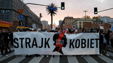 People protest against Poland's near-total ban on abortion, Warsaw, October 26, 2020