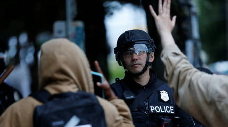 A police officer in Seattle, Washington, US July 1, 2020.