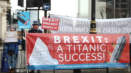 Anti-Brexit protester demonstrates outside the Houses of Parliament in London, December 16, 2020