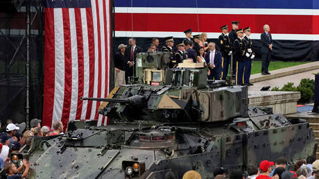 """A Bradley armored vehicle at the """"Salute to America"""" event in Washington, DC, July 4, 2019."""