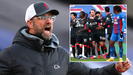 Jurgen Klopp watched Liverpool beat Crystal Palace 7-0 in the Premier League © Clive Rose / Reuters