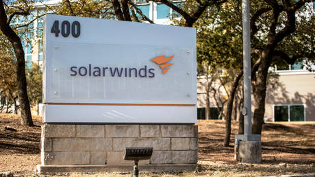 A SolarWinds sign is seen outside its headquarters in Austin, Texas, U.S.