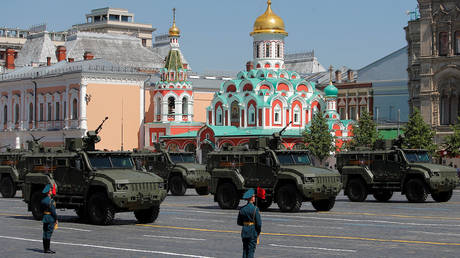 FILE PHOTO: Russian Typhoon-VDV 4x4 all-terrain armoured vehicles drive during the Victory Day Parade in Moscow, Russia, on June 24, 2020.