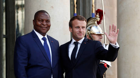 French President Emmanuel Macron hosts CAR President Faustin-Archange Touadera at the Elysee Palace in Paris, September 5, 2019.