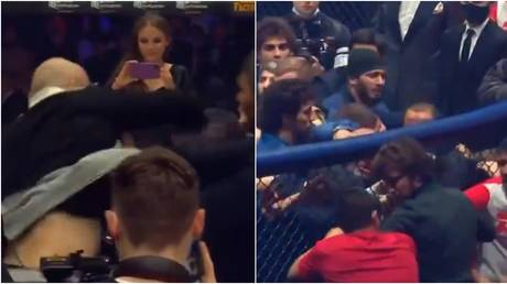 MMA fighters Magomed Ismailov and Vladimir Mineev triggered a mass brawl in Moscow . © Twitter @MatchTV