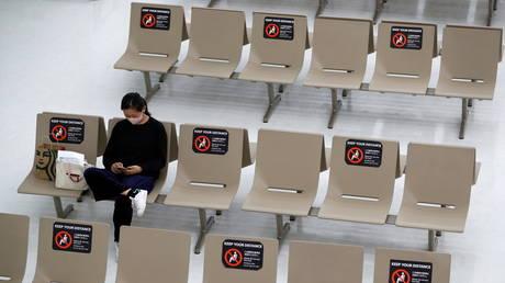 Seats at the arrival zone of Narita international airport, in Narita, east of Tokyo, Japan November 2, 2020.