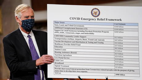 US Senator Angus King (I-ME) holds a chart as bipartisan members of the Senate and House gather to announce a framework for Covid-19 relief legislation