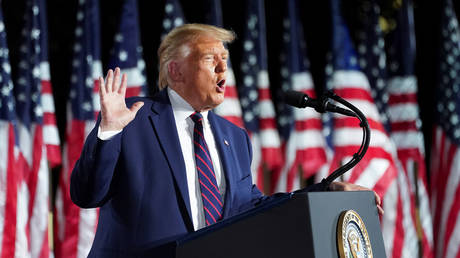 FILE PHOTO: U.S. President Donald Trump delivers his acceptance speech as the 2020 Republican presidential nominee during the final event of the Republican National Convention on the South Lawn of the White House in Washington, U.S., August 27, 2020