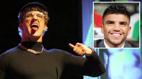 Victor Ortiz (inset) thinks Logan Paul will give Floyd Mayweather problems when they meet on Feb. 20.