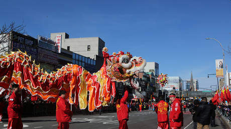 FILE PHOTO: Dragon dancers march in the Flushing Lunar New Year Parade in Queens, New York