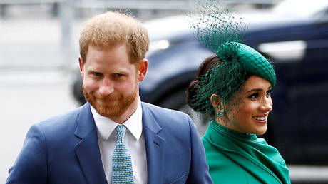 FILE PHOTO: Britain's Prince Harry and Meghan, Duchess of Sussex, arrive for the annual Commonwealth Service at Westminster Abbey in London, Britain March 9, 2020.