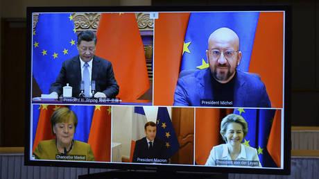 EU-China leaders' meeting via video conference © Pool Photo via AP / Johanna Geron